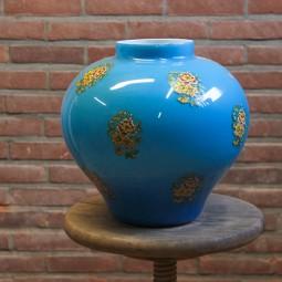 Blauw porseleinen vaas